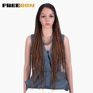 Image 3 - Свободный плетеный синтетический кружевной передний парик для женщин, бесплатная пробежка, красный Омбре, коричневый конский хвост, вязанная коса, волосы, новый стиль, мода