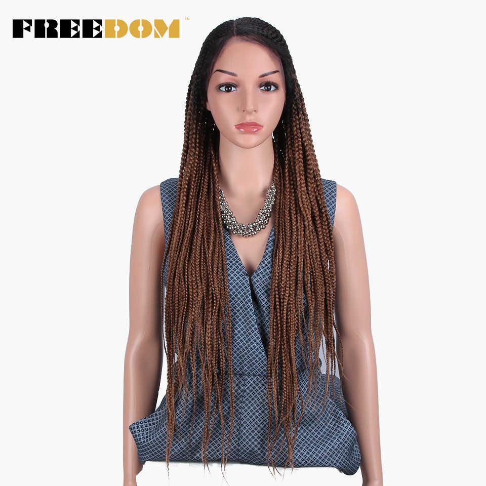 Peluca con malla frontal sintética trenzada FREEDOM para mujer, peluca trenzada de ganchillo con cola de caballo roja Ombre marrón, nuevo estilo de moda