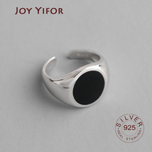 100% 925 Solid Silver INS Simple black Open Ring Fashion 925