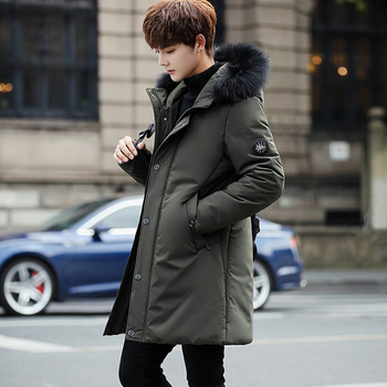 BROWON Brand 2020 Winter Men's Long Coat FashionThick Warm Men Clothes Slim Casual Hooded Jackets Quality Cotton Jacket Black