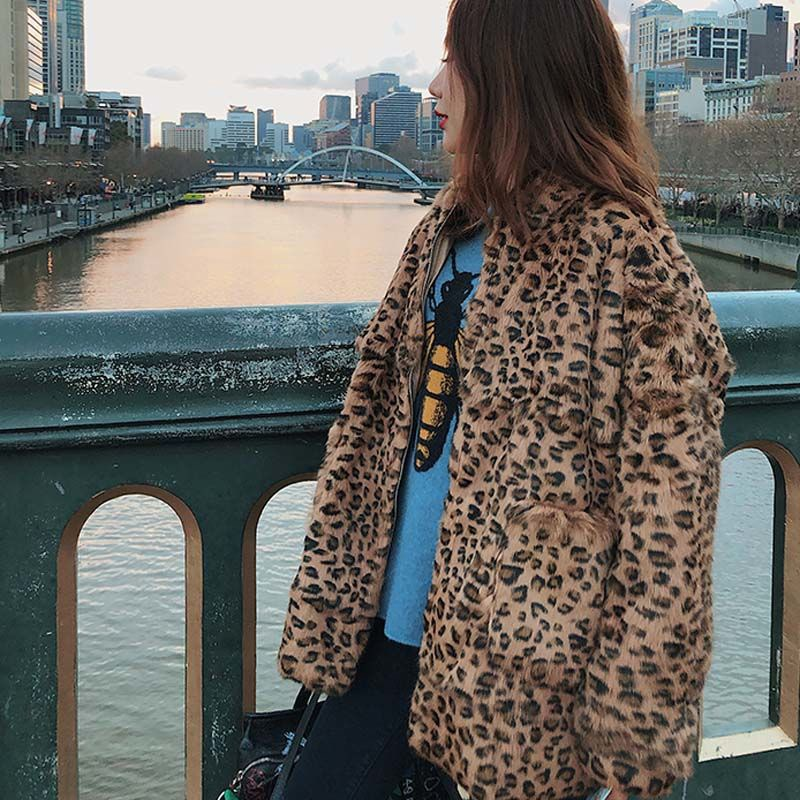 Real-Fur-Jacket Rabbit-Fur Leopard Natural Women's Fashion Rf1945 Long-Sleeve Printed