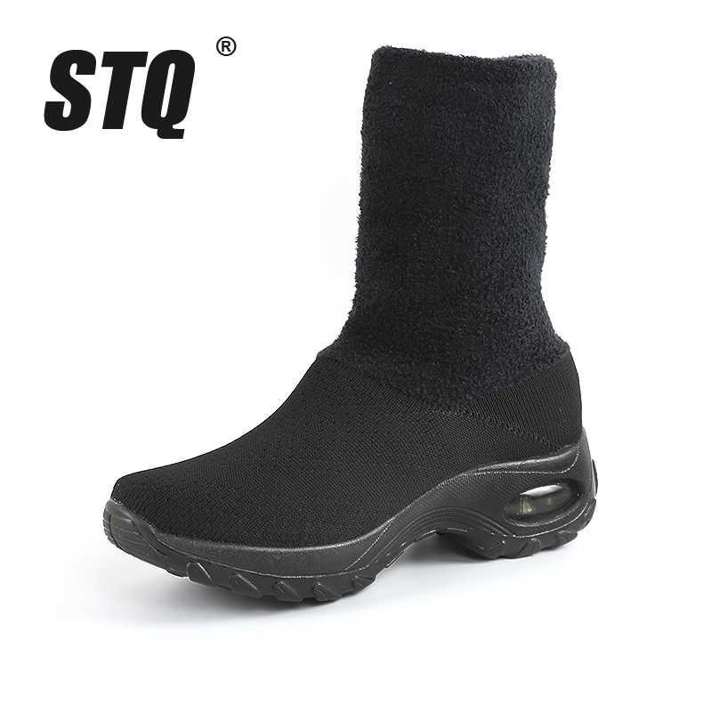 STQ kadınlar kış daireler örgü ayakkabı ayakkabı bayanlar nefes kayma ayakkabı kadın rahat daireler elastik Moccasins ayakkabı ZJW2055