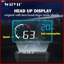 GEYIREN 2019 Neueste M10 HUD display Mit Objektiv Haube gelb led Frontscheibe Projektor head up display OBD Scanner Geschwindigkeit Kraftstoff warnin