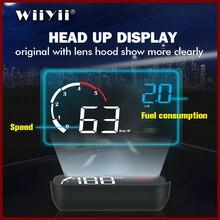 Geyiren 2019 mais novo m10 hud display com capa de lente amarelo led brisa projetor cabeça up display obd scanner velocidade combustível warnin
