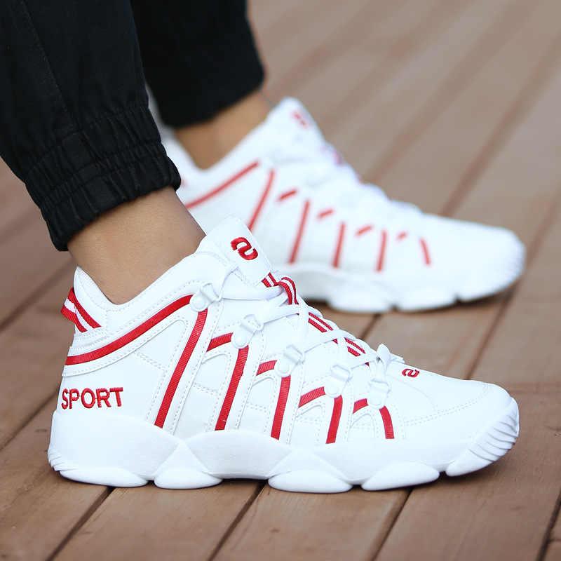 รองเท้าบาสเก็ตบอลยี่ห้อใหม่ผู้ชายผู้หญิงกีฬากันกระแทกHombre Athleticสบายรองเท้าสบายรองเท้าผ้าใบสีดำPlusขนาด