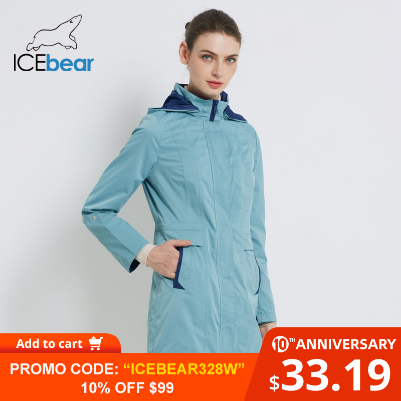 ICEbear 2019 Women's Coat High Quality Autumn Long Trench Coat For Women Brand Clothing 17G116D