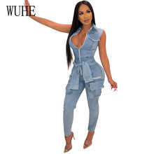 WUHE Fashion Pocket Zipper Denim Jumpsuits Women Lace-up Rompers Sexy V-Neck Hollow Out Sleeveless Jeans Long Pants Overalls