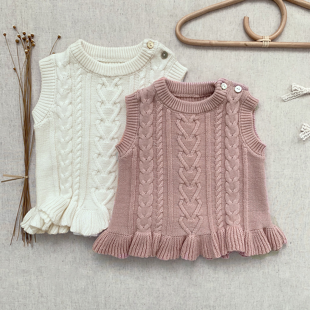 Baby Girls Sleeveless Knitted Jumper Kids Sweaters 0-4Y