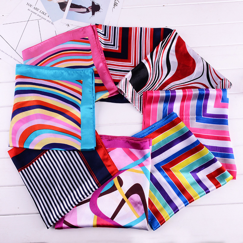 Fashion Small Scarf Soft Hair Tie Band Decorative Multifunctional Headscarf Multicolor Stripe  Kerchief Neck Small Square Scarf