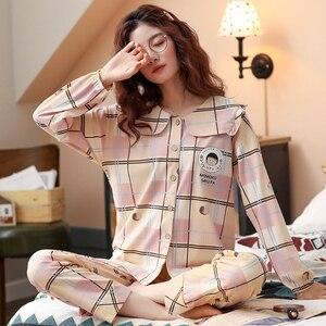 Image 3 - BZEL bahar sonbahar kış pijama setleri kadın pijama pamuk ev giyim Femme artı boyutu pembe Nighty moda Slaid pijama