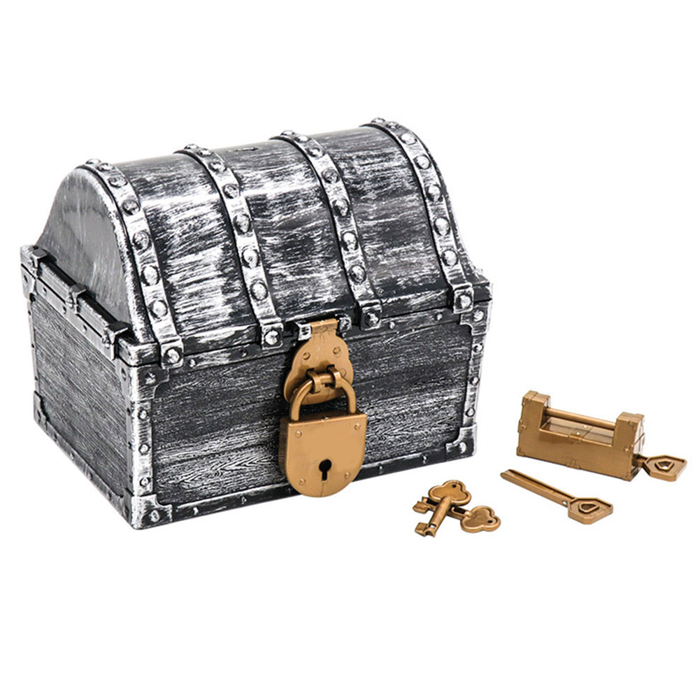 Home Decoration Children Gift With Keys Vintage Pirate Treasure Chest Kids Toys Storage Box Gems Holder Gold Coins Playset