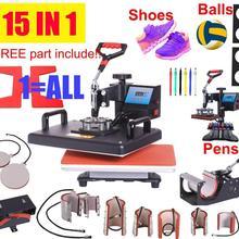 15 в 1 термопресс машина, сублимационный принтер/машина для переноса обуви ручка термопресс для кружки/крышки/футболки/обуви/бутылки/ручки/футбола