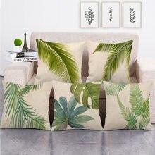 Linen Cushion Case Tropical Plants Print Throw Pillows Cushion Cover Living Room Decorative Pillowcase Square Cushion Cover