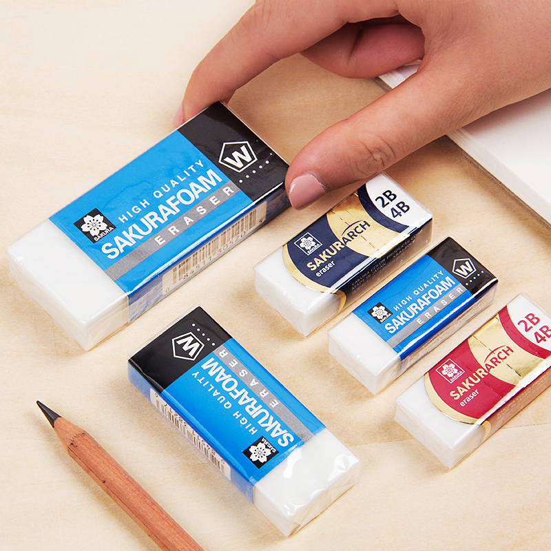 1pc Sakura High Quality Sakurafoam Eraser Special Use For Drawing Super Clean Pencil Rubber XRFW-40/60/100/200/300 XRAJ-60
