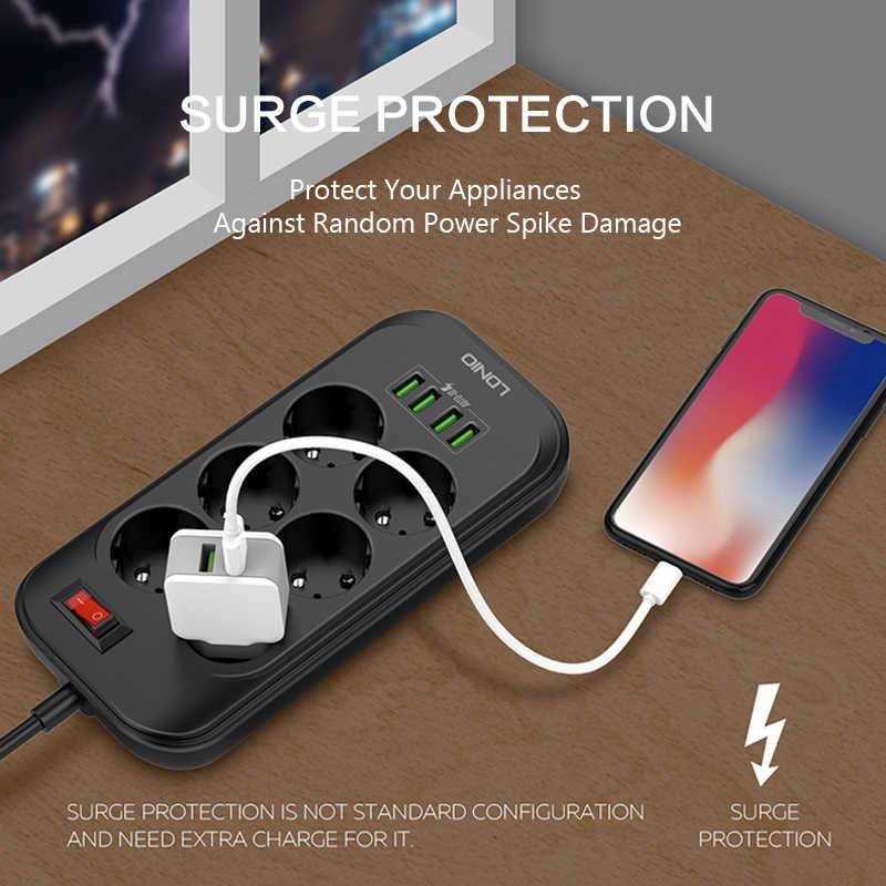 Inteligentna wtyczka listwa zasilająca wielu rozszerzenie gniazdo zasilania zabezpieczenie przeciwprzepięciowe 4 Port USB 6 gniazdo ue wtyczka inteligentny gniazdo elektryczne 2500W