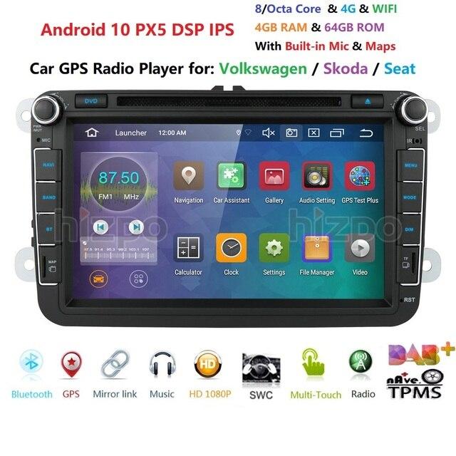 8 inch Android 10 RAM 4GB ROM 64GB Auto Multimedia Player Player für VW Golf 5 Caddy Passa b6 Sitz Leon GPS WIFI Auto DVD