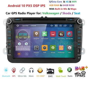 8 pulgadas Android 10 RAM 4GB ROM 64GB coche reproductor Multimedia reproductor para VW Golf 5 Caddy Passa B6 Seat Leon GPS WIFI coche DVD