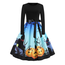 Women Dress Autumn Long Sleeve Halloween O-Neck Musical Notes Print Vintage Flare