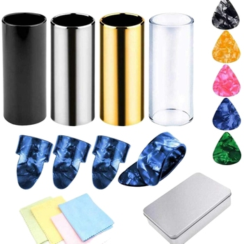 4 Pieces Medium Guitar Slides (Include 3 Colors Stainless Steel, 1 Pieces Glass), 5 Pieces Guitar Picks (Ran Color) and 4 Pie шарф pieces pieces pi752gwccoj2