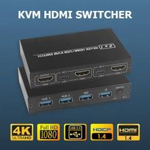 Hdmi-acessórios do computador do agregado familiar do porto 4k do interruptor kvm 2 compatível para 2 pc que partilha uma impressora do rato do teclado do monitor