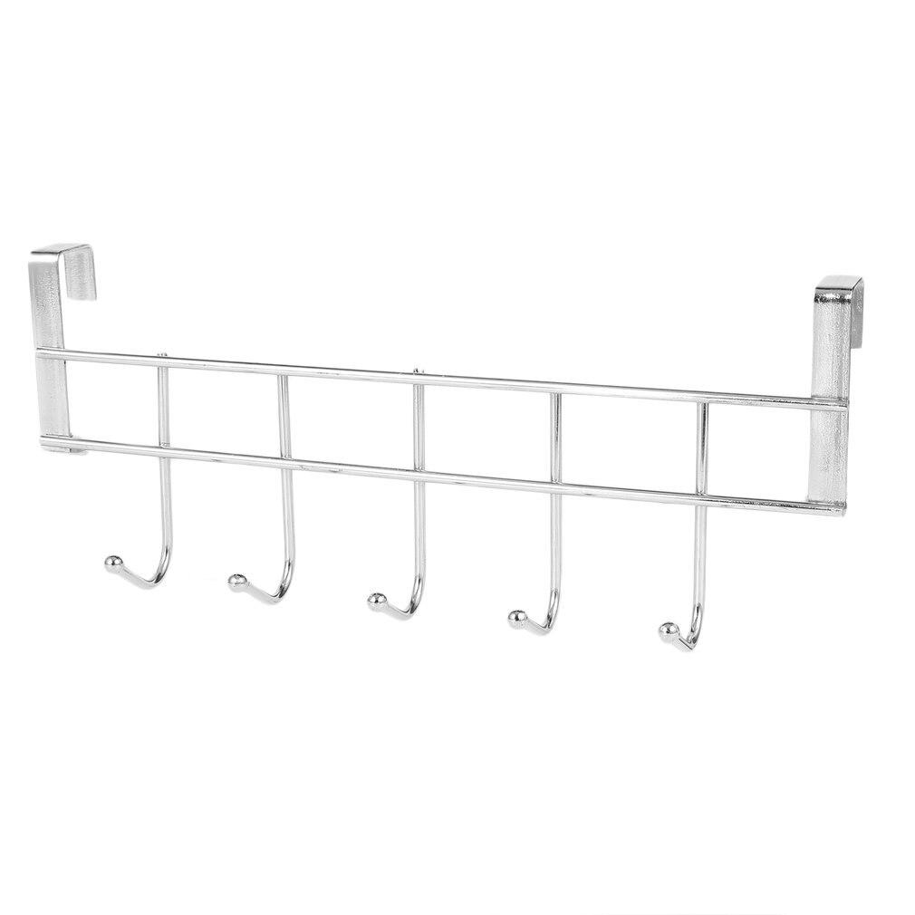 Stainless Steel Hanger With 5 Hooks Door Bathroom Kitchen Cabinet Draw Bedroom Towel Clothing Hanger Hanging Loop Organizer
