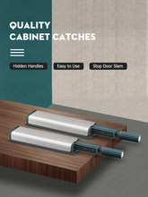 KAK 10PCS Cabinet Catches Stainless Steel Push to Open Hidden Cabinet Handle Soft Closer Cabinet Door Hardware