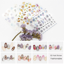 1 Pcs Flower Series Butterfly 5D Self Adhesive Embossed Nail Stickers Acrylic Engraved Water Decals DIY Summer Decor