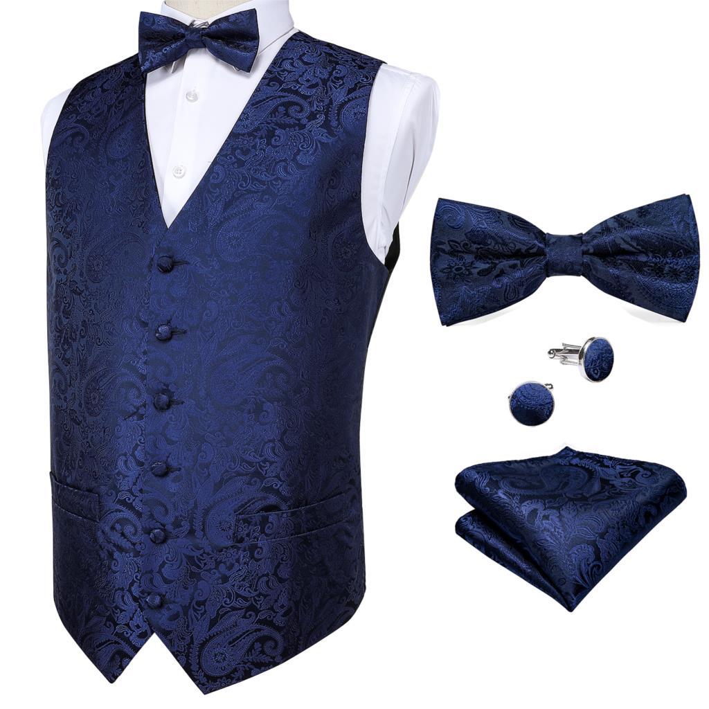 Barry.Wang Silk Vest Men's Classic Sapphire Waistcoat Party Wedding Paisley Jacquard Vest Hanky Bow Tie Cufflinks Set DiBanGu