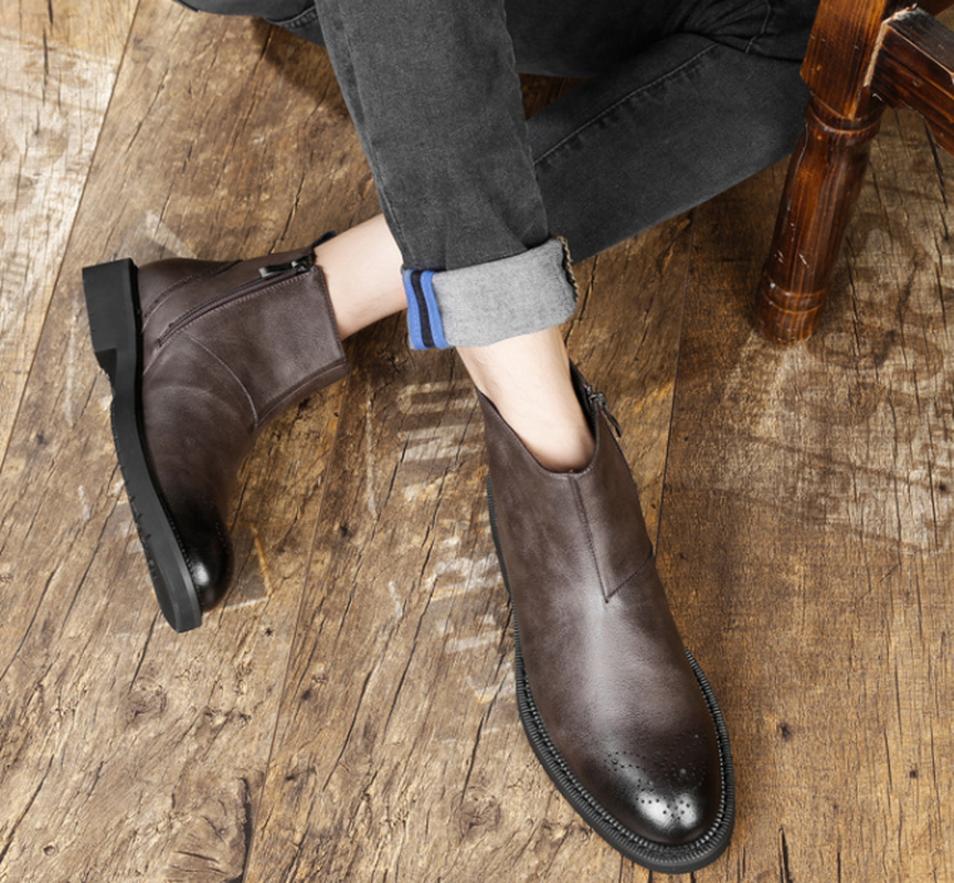 Heren Schoenen Echt Leer RidingEquestrian Varkensleer Herfst Britse Lederen Mannen Werken Laarzen voor Heren Beslagen Schoenen - 6