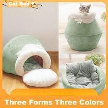 Casa de gato bonito dobrável portátil macio de pelúcia quente do gato da cama do gato do inverno caverna saco de dormir coxim engrossado da cama do animal de estimação gatinhos produtos