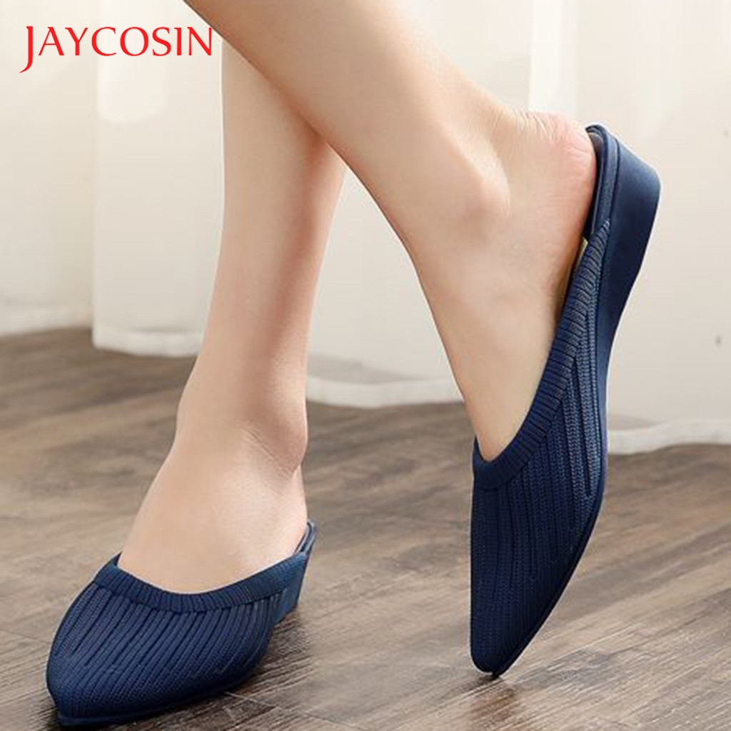 JAYCOSIN Slippers Women shoes Pointed Toe Wedges Elegant ladies shoes Woman Slip On Casual Shallow Mules Slipper Sandals zapatos 1