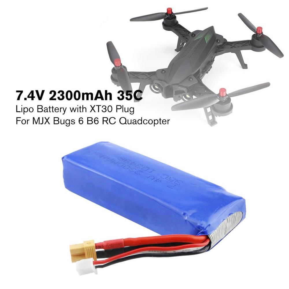 NEW RC <font><b>7.4V</b></font> <font><b>2300mAh</b></font> 2S 35C Li-po Rechargeable <font><b>Battery</b></font> with XT30 Plug Spare Parts Accessories for MJX Bugs3/6 B3/B6 RC Drone image