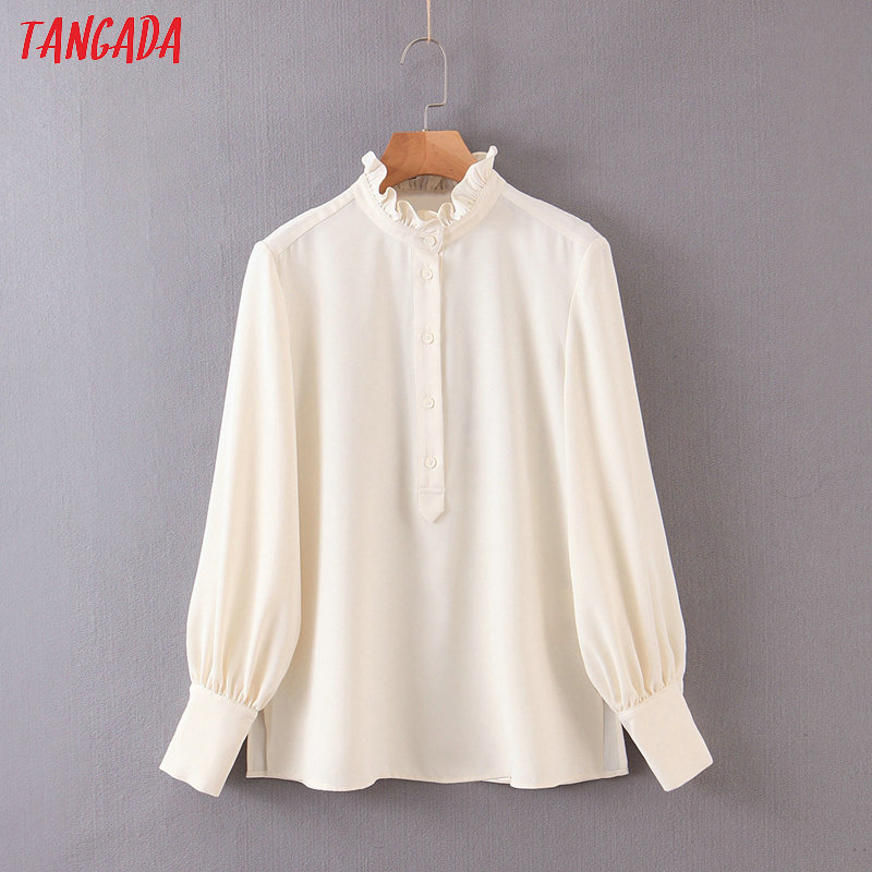 Tangada Women Ruffle Chiffon Shirts Long Sleeve Buttons 2020 Fashion Office Ladies Work Wear Blouses QB84