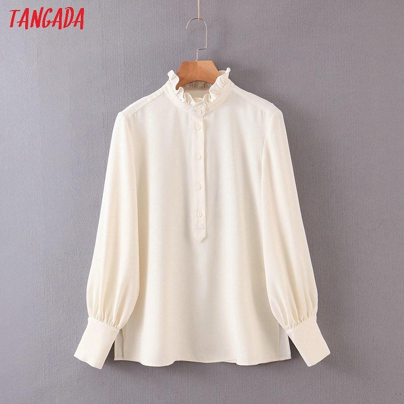 Tangada Women Ruffle Chiffon Shirts Long Sleeve Buttons 2020 Fashion Office Ladies Work Wear Blouses QB84