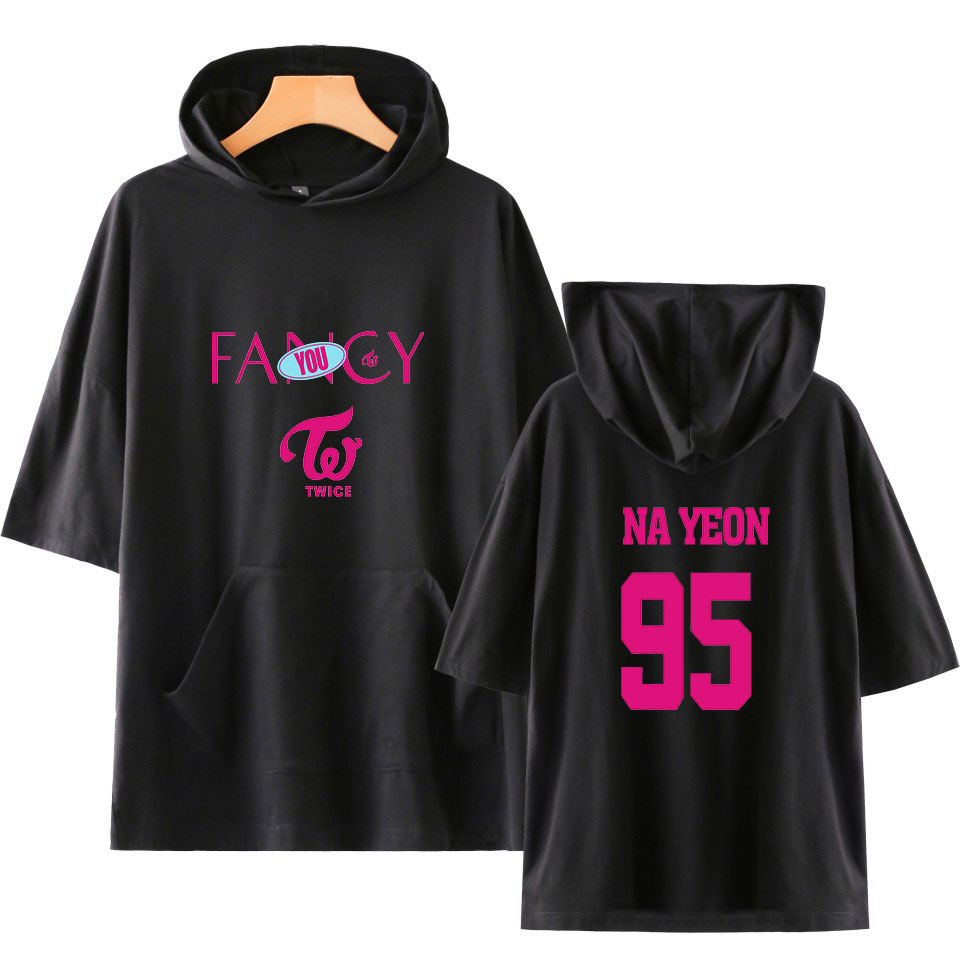 KPOP Twice Fancy Short Hoodies Sweatshirt Men/Women Summer Casual Wear 2019 New Fashion Trend K Pop Streetwear