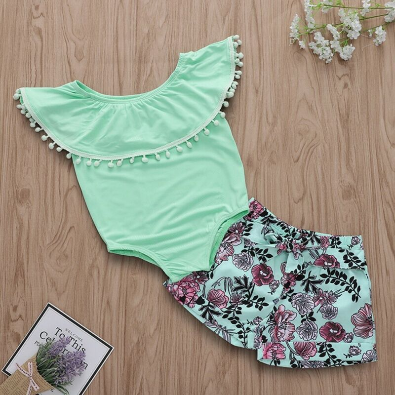 2Pcs Newborn Kid Baby Girl Clothes Ruffle Romper Floral Shorts Summer Outfit Set