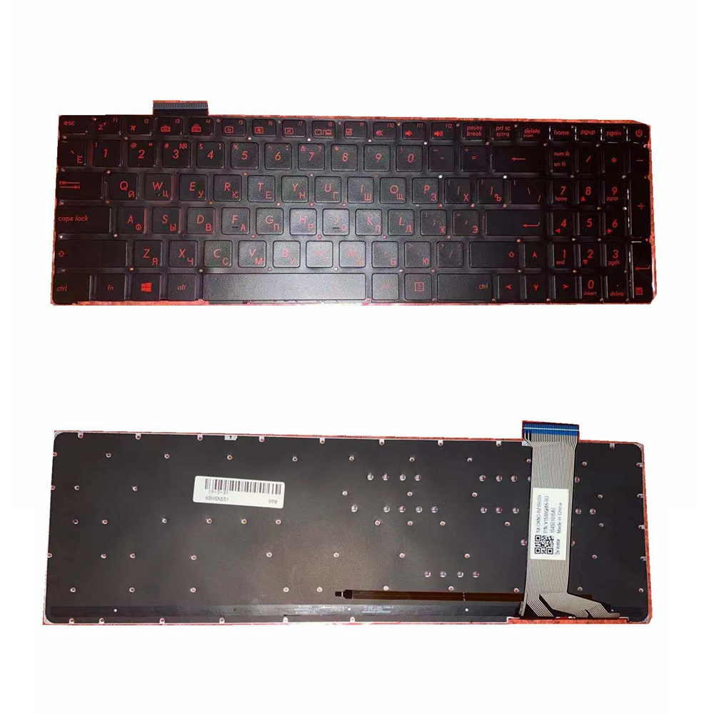 Russian  Laptop Keyboard For ASUS GL552 GL552J GL552JX GL552V GL552VL GL552VW N751 N751J N751JK N751JX G551VW  Red Font Withback