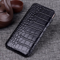 Real Leather Pull Sleeve Pouch Phone Case for Apple iphone X Xs XR Xs Max Genuine Cowhide Cow Skin Crocodile Grain Wallet Bag