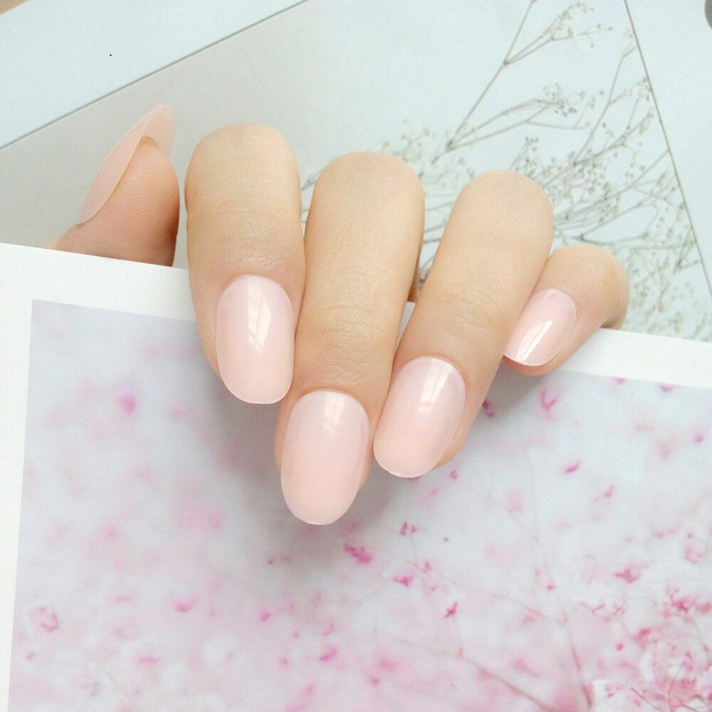 Glossy Light Nude Artificial Fake Fingernails Full Cover Plastic False Nails For Design DIY Salon Manicure Tool(China)