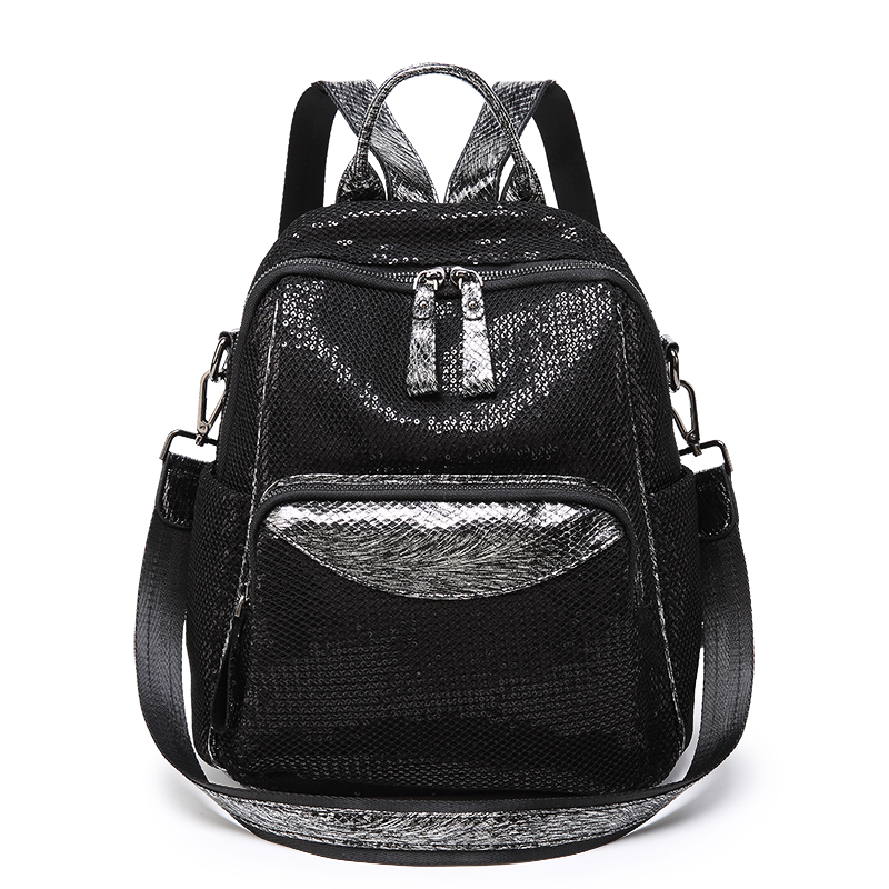 Shining Sequins Women Backpack 2019 Fashion Genuine Leather Shoulder Bags Teenage Student Girls Anti-theft Leisure Backpacks Sac