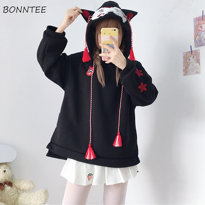 Hoodies Women Hooded Embroidery Tassel Thicker Plus Velvet Womens Hoodie Lovely All-match Japanese Style Harajuku Kawaii Trendy