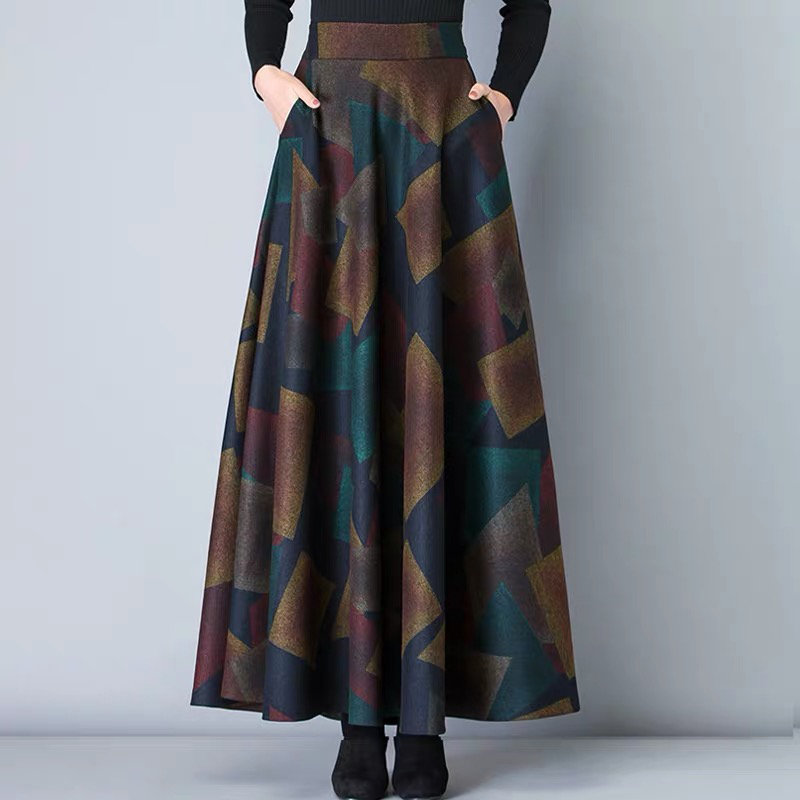 Vintage A-Line High Waist Woolen Skirts 2019 Autumn Winter Fashion Women's Wool Maxi Skirts Female Casual Long Streetwear