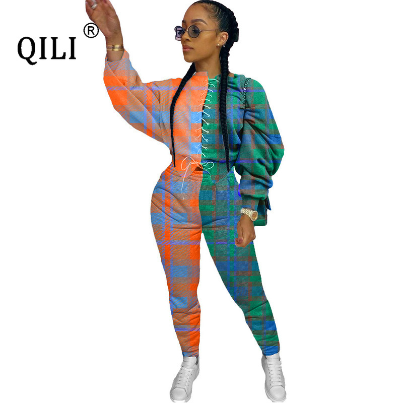 QILI  Plaid Print Lace-Up Outfits Two Piece Set Full Sleeve Outfit Womens Casual Sets Office Lady Patchwork Sets XXL 3XL