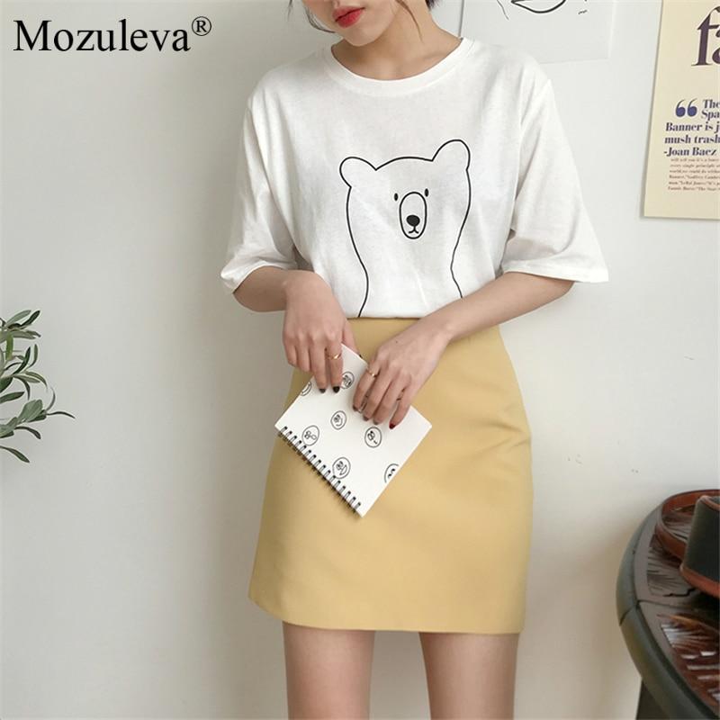 H223c73288c904fe18919f8e3c49e1becV Mozuleva 2020 Chic Cartoon Bear Cotton Women T-shirt Summer Short Sleeve Female T Shirt Spring White O-neck Tees 100% Cotton