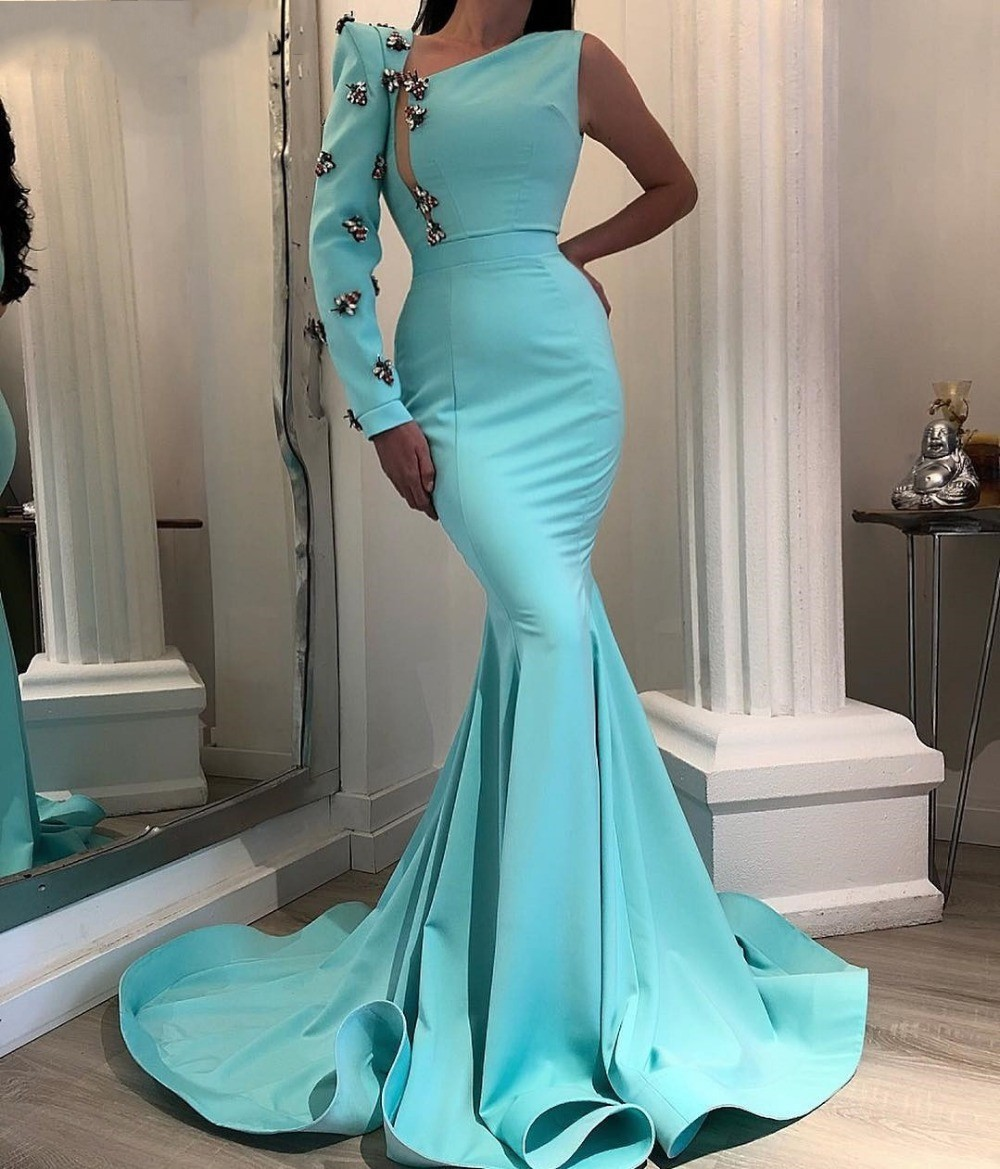Elegant Long sleeve Mermaid evening dresses Abendkleider 2020 Islamic Dubai Saudi Arabic Formal Dress Prom Evening gown