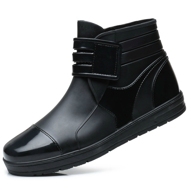 Dwayne 2019 Fashion PVC Waterproof Rainboots Waterproof Flat Shoes Men Black Water Shoes Blue Rubber Ankle Boots Buckle Botas