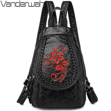 New Winter 3 in 1 Women Backpack Ladies Casual Embroidery Flowers Chest Bag Washed Soft Leather Women Shouldr Bag Mochila Mujer