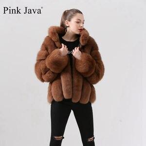 Image 4 - Rosa Java QC19018 frauen mantel winter pelz jacke echt fox pelz mäntel natürlichen pelz jacken langen ärmeln heißer verkauf stehen kragen