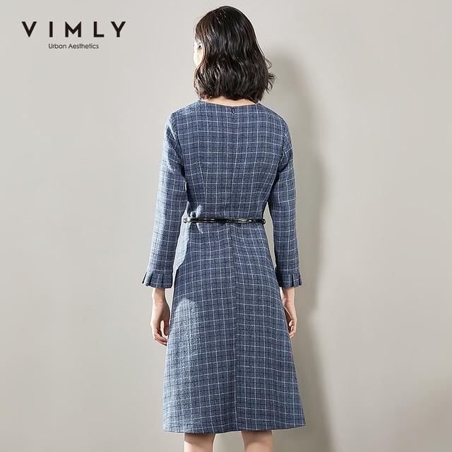 Vimly 2020 Autumn Winter Plaid Elegant Dress Office Lady O-neck High Waist Belt Zipper Knee Length Female A-line Dresses 95879 4
