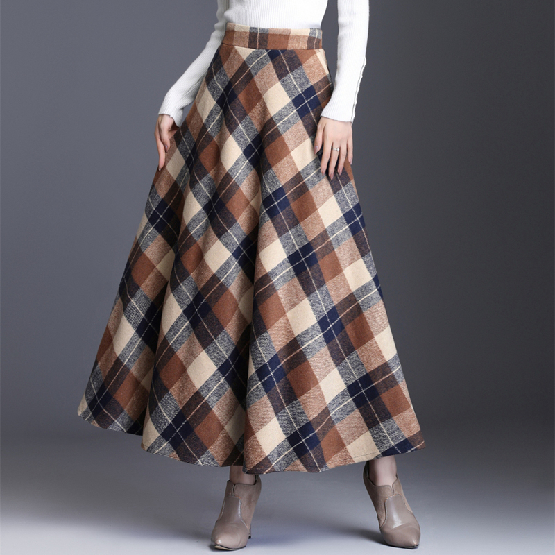 Long Plaid Skirts For Women Warm Wool Elegant High Elastic Waist Office Lady Skirt 2019 Autumn Winter Female Clothing Plus Size